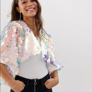 ASOS DESIGN holographic sequin cape one size party